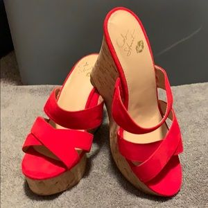 Colin Stuart Red Suede Slip on Wedge